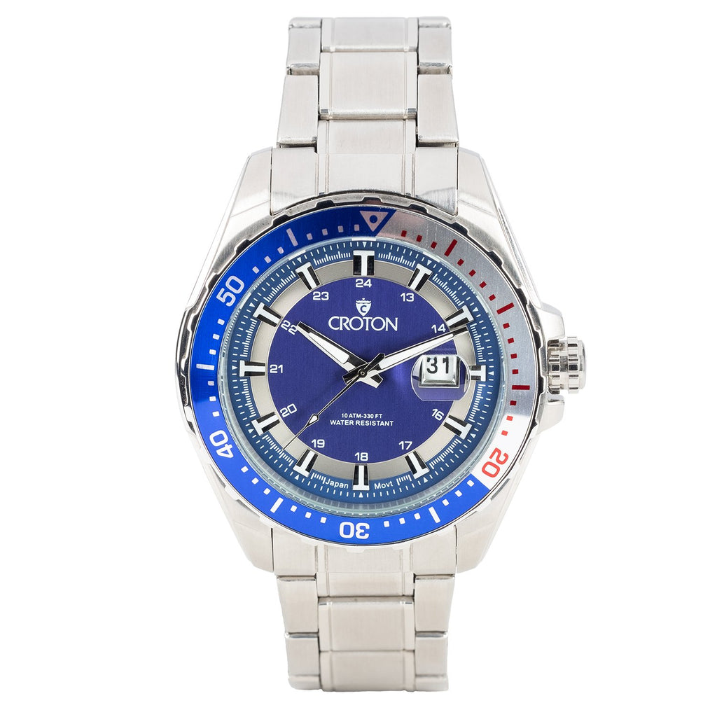 MEN'S ALL STAINLESS STEEL SPORT WATCH WITH ROTATING BEZEL - BLUE DIAL / BLUE & SILVER BEZEL - CROTON GROUP