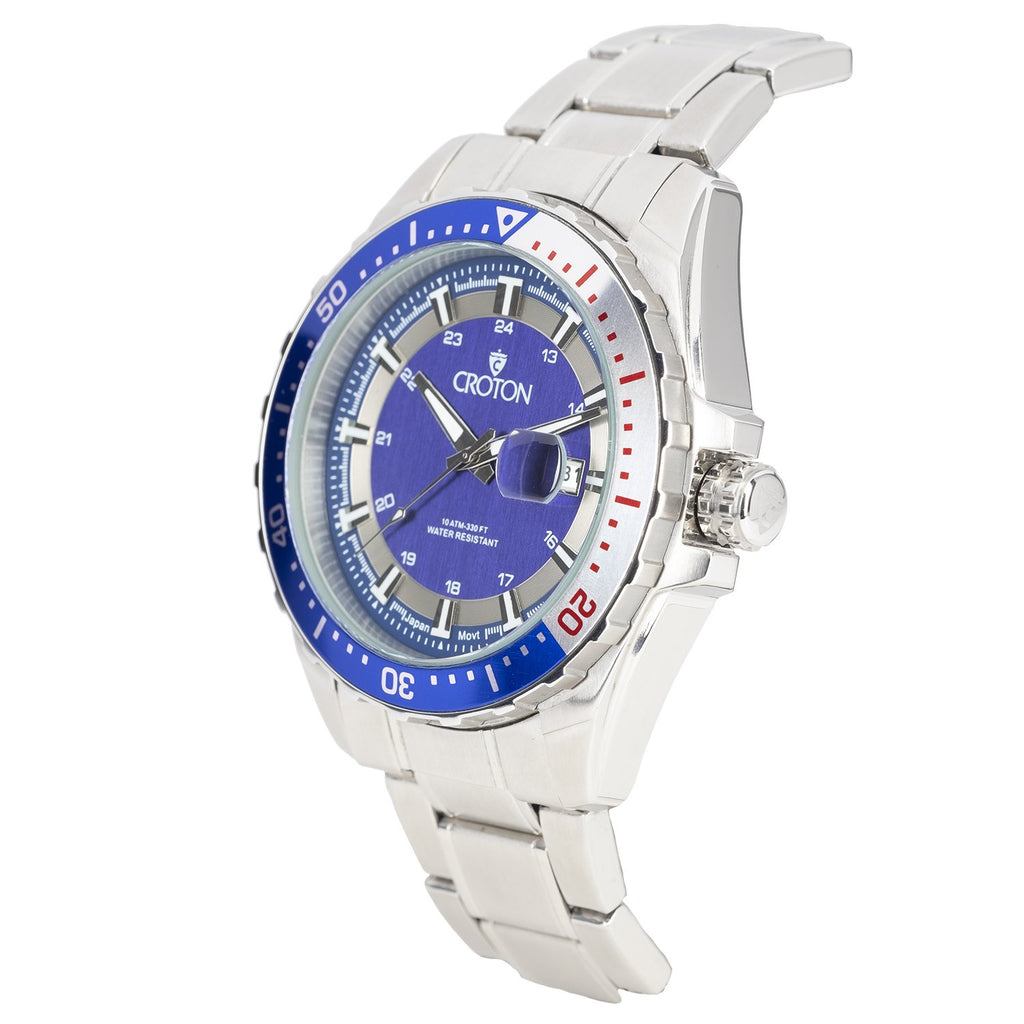 MEN'S ALL STAINLESS STEEL SPORT WATCH WITH ROTATING BEZEL - BLUE DIAL / BLUE & SILVER BEZEL