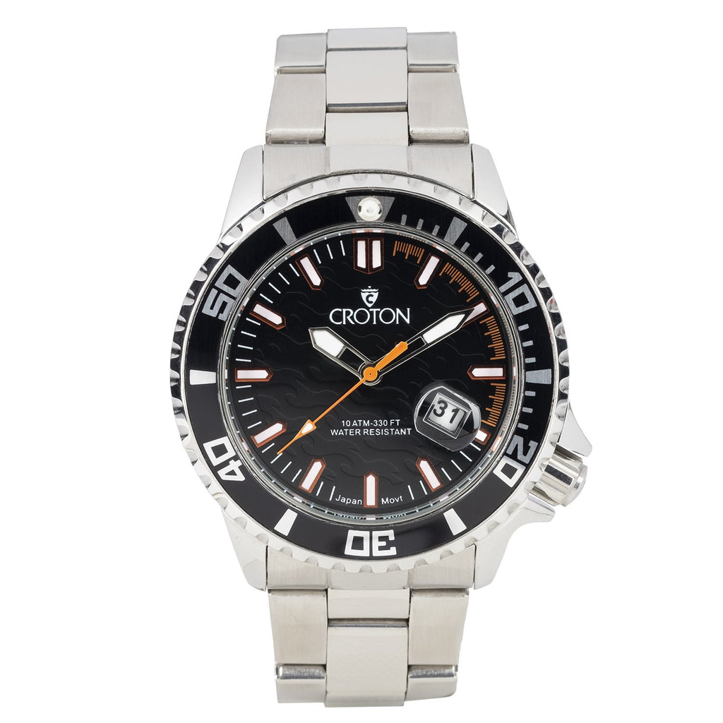 MEN'S ALL STAINLESS STEEL SPORT WATCH WITH ROTATING BEZEL - BLACK/ORANGE INDEX DIAL BLACK BEZEL - CROTON GROUP