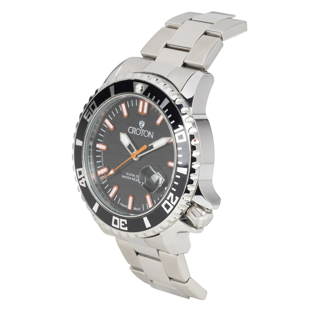 MEN'S ALL STAINLESS STEEL SPORT WATCH WITH ROTATING BEZEL - BLACK/ORANGE INDEX DIAL BLACK BEZEL