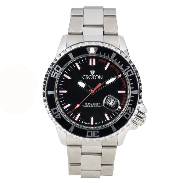 MEN'S ALL STAINLESS STEEL SPORT WATCH WITH ROTATING BEZEL - BLACK/RED INDEX DIAL BLACK BEZEL