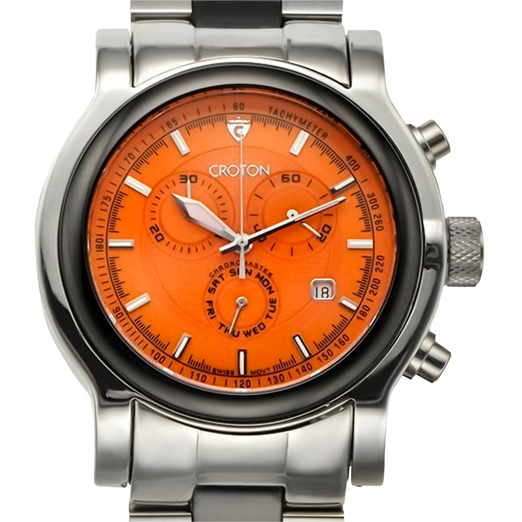 "Croton Men's Swiss Quartz Stainless Steel & Ceramic ""Millenium"" Chronograph Watch"