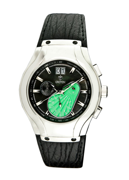 Mens Swiss Chronomaster Watch with Sapphire Crystal and Green Dial