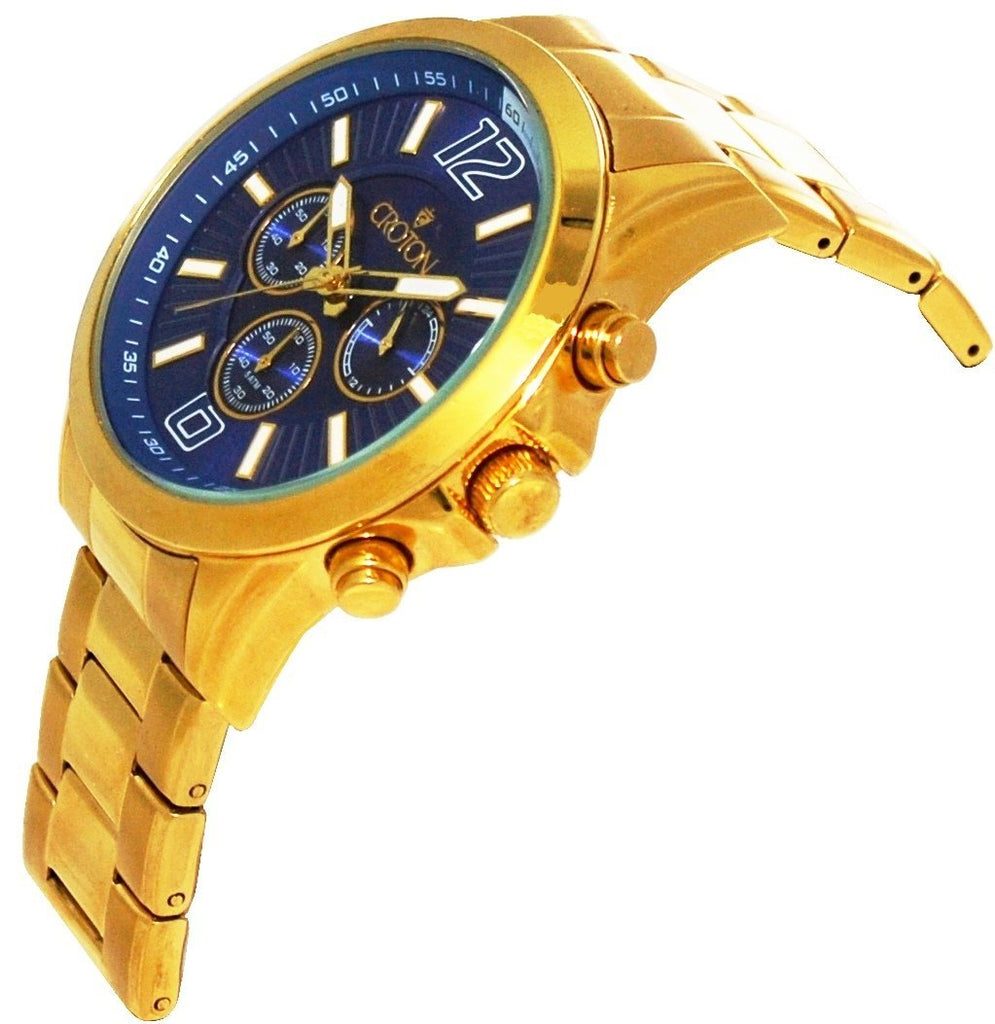 Men's Goldtone Chronograph with Blue Dial