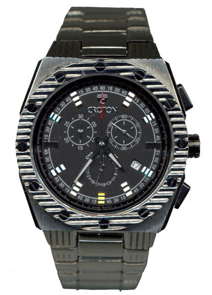 Men's Silvertone All Stainless Steel Swiss Quartz Chronograph with Black Dial