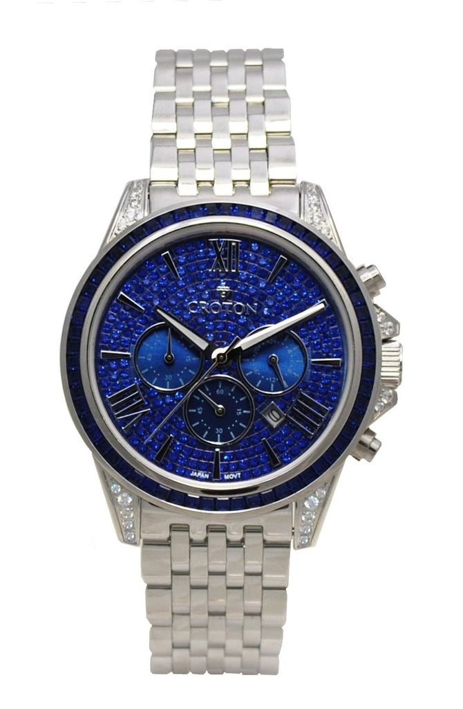 Men's Silvertone All Stainless Steel Chronograph with Blue Set Crystal Dial & Bezel