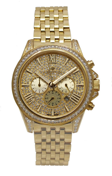 Men's Goldtone All Stainless Steel Chronograph with Set Crystal Dial & Bezel