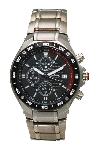 Men's All Stainless Steel Chronograph with Red Accented Black Patterned Dial