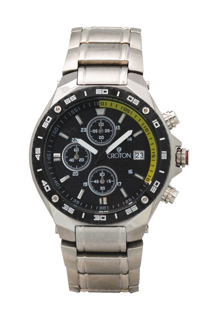 Men's All Stainless Steel Chronograph with Yellow Accented Black Patterned Dial