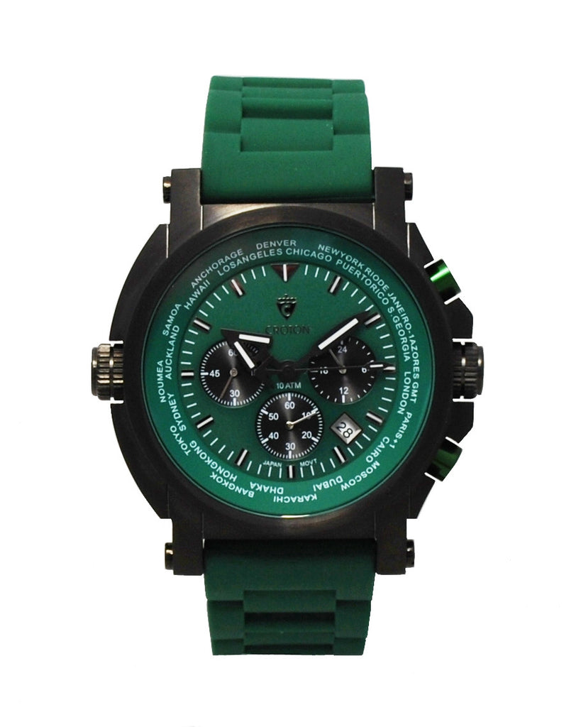 Men's IP Black Stainless Green Dial & Strap Chronograph with World Time Function