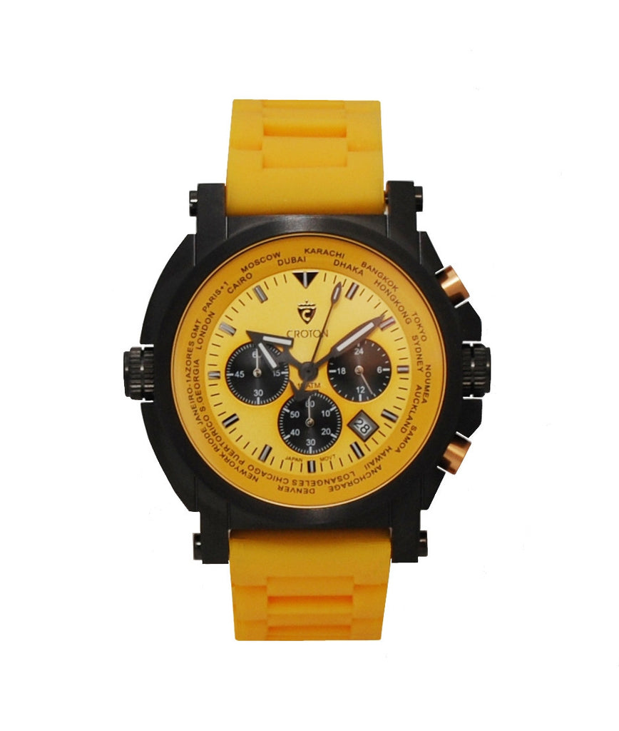 Men's IP Black Stainless Orange Dial & Strap Chronograph with World Time Function