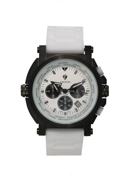 Men's IP Black Stainless White Dial & Strap Chronograph with World Time Function