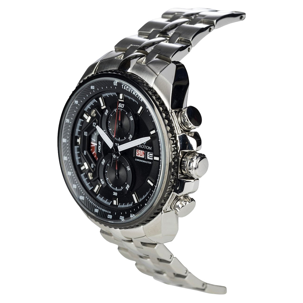 Men's All Stainless Steel Day/Date Chronograph with Black Dial