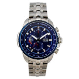 Men's All Stainless Steel Day/Date Chronograph with Blue Dial