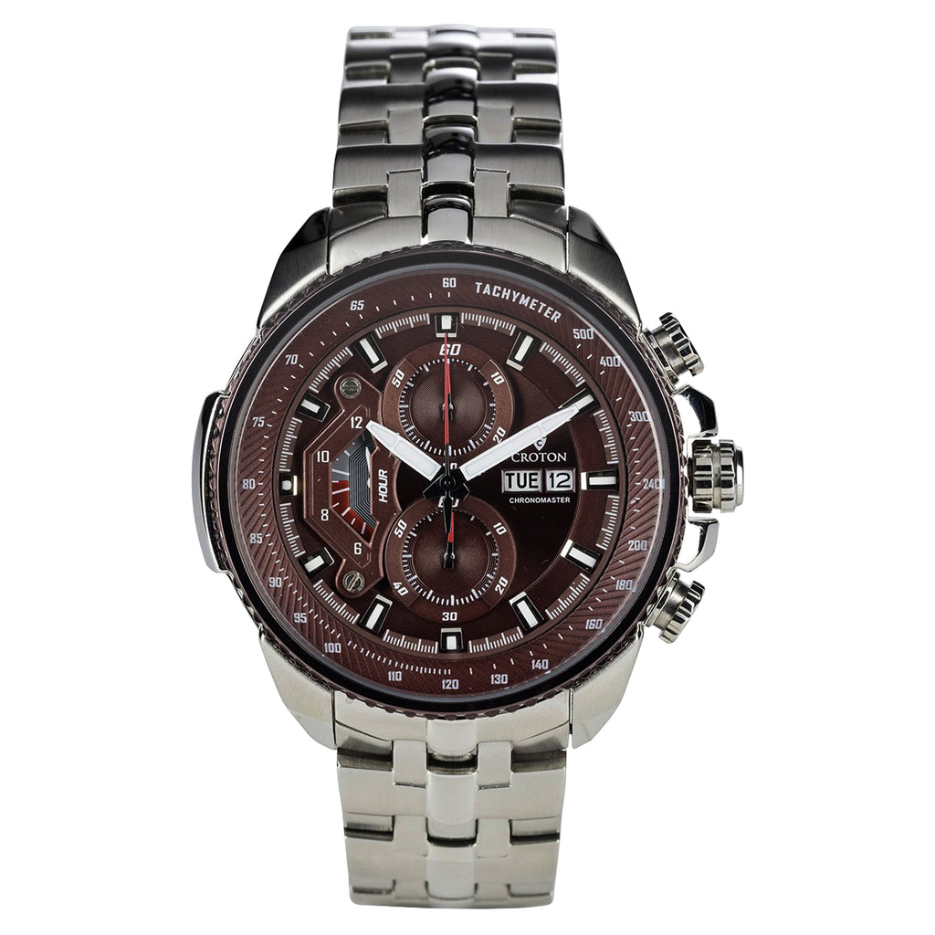 Men's All Stainless Steel Day/Date Chronograph with Brown Dial