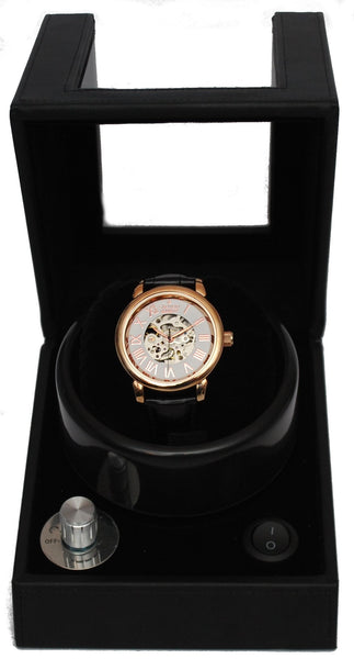 Men's Imperial All Stainless Steel Skeleton Automatic with Leather Strap and Free Watch Winder