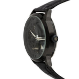 "Croton Men's ""Imperial""  Black Quartz Automatic with Leather Strap"