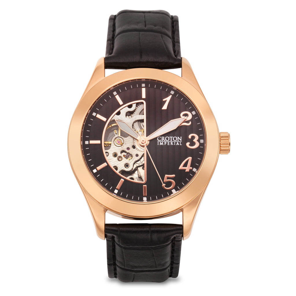 "Croton Men's ""Imperial"" Skeleton Automatic with Patterned Dial & Leather Strap"
