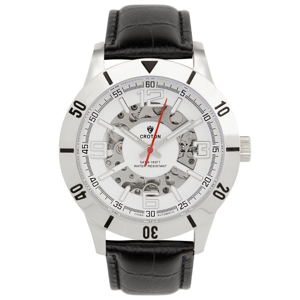 Men's All Stainless Steel Skeleton Automatic with Leather Strap and Free Watch Winder