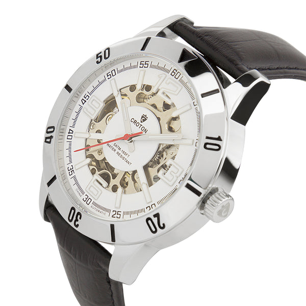 Men's Silvertone All Stainless Steel Skeleton Automatic with Leather Strap
