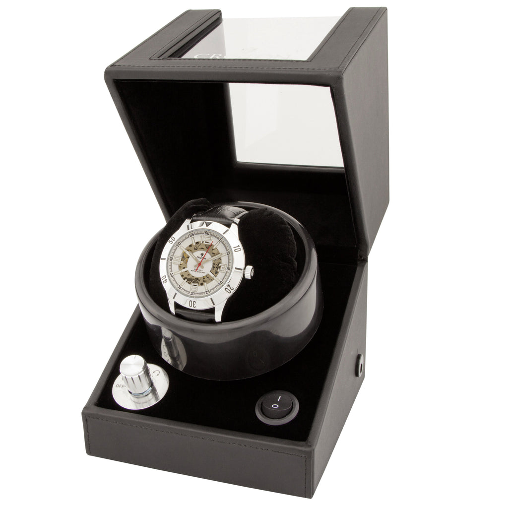 Men's All Stainless Steel Skeleton Automatic with Leather Strap and Free Watch Winder - CROTON GROUP