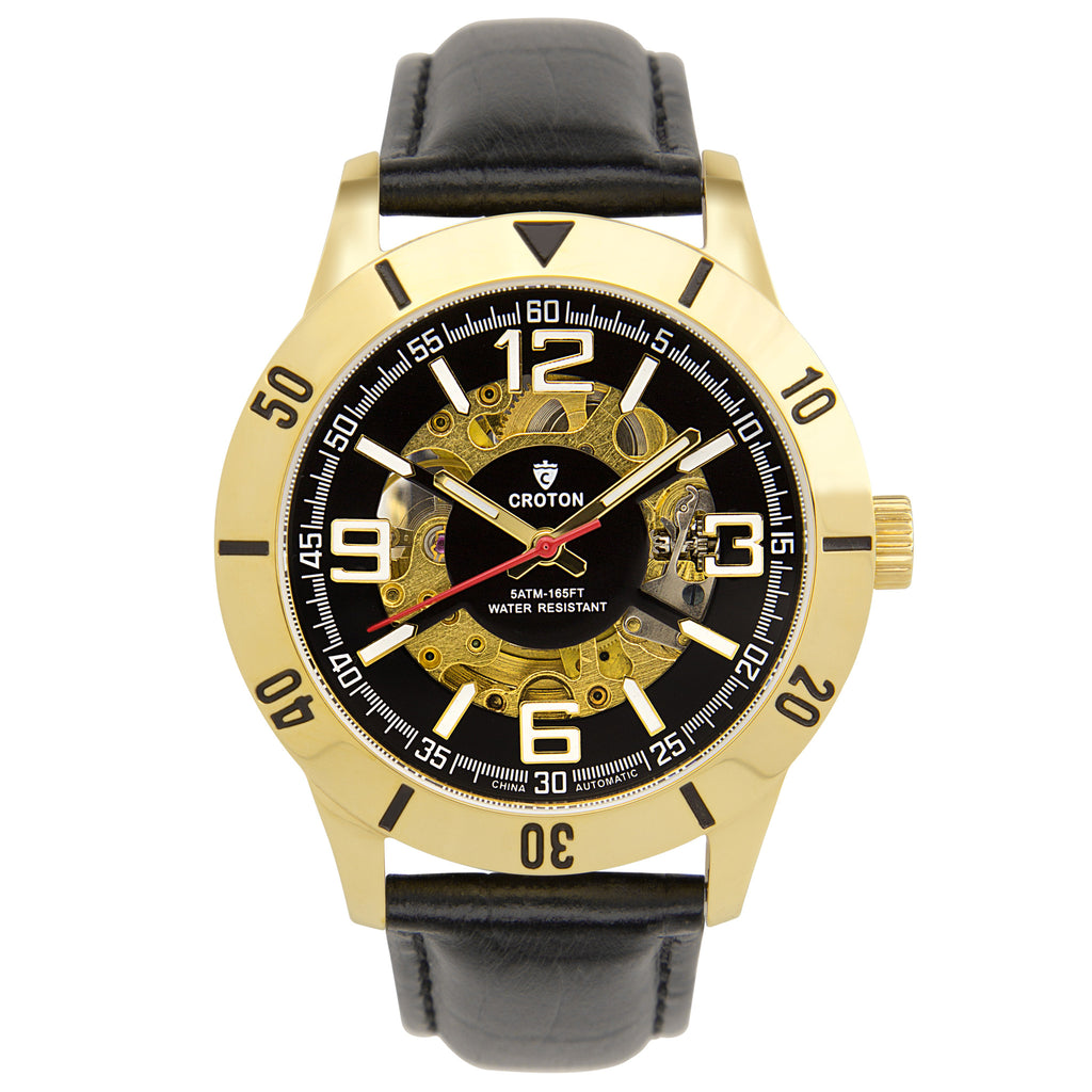 Men's Goldtone All Stainless Steel Skeleton Automatic with Leather Strap