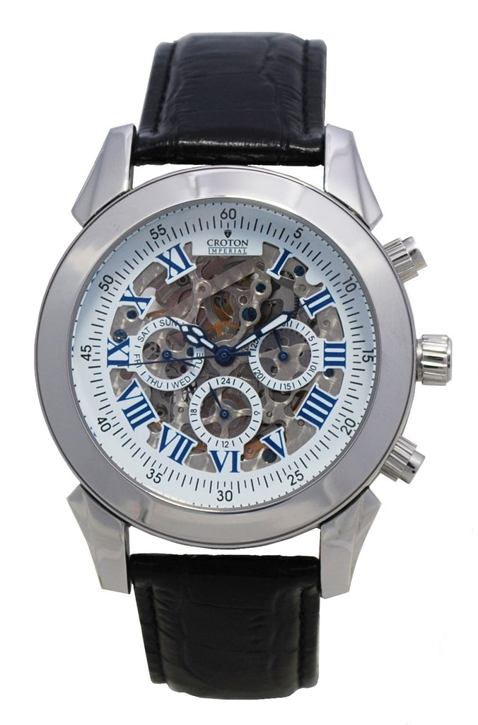 Men's Silvertone Multi-Function Automatic Skeleton Watch