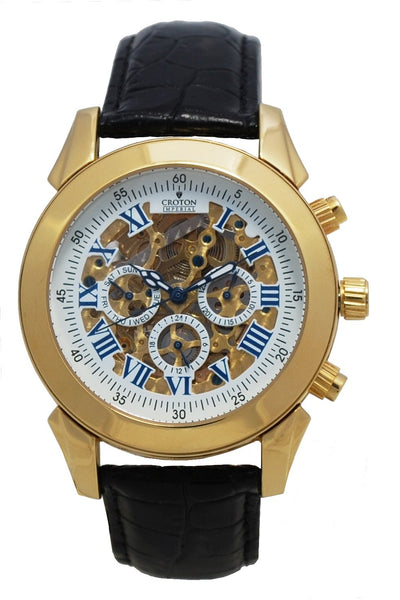 Men's Goldtone Multi-Function Automatic Skeleton Watch