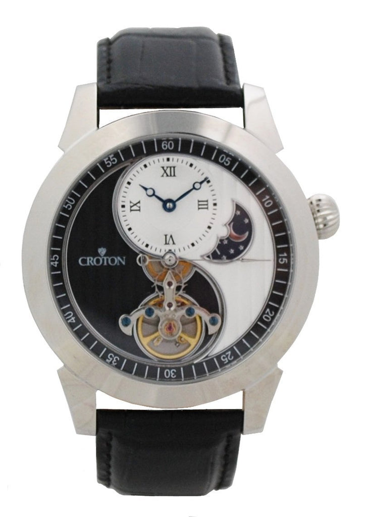Men's Silvertone Stainless Automatic with Ying Yang Design and Leather Strap - CROTON GROUP