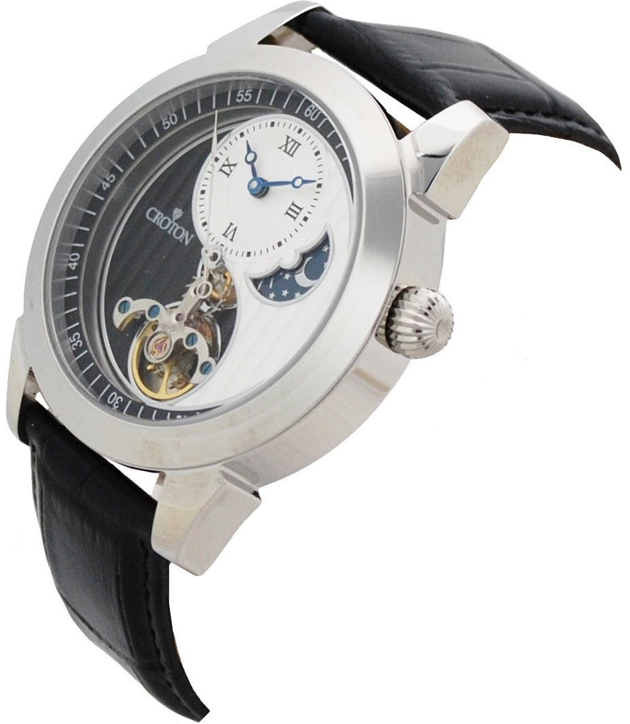 Men's Silvertone Stainless Automatic with Ying Yang Design and Leather Strap