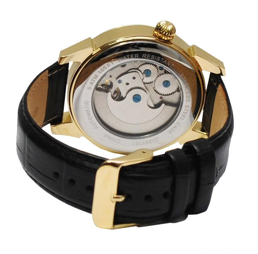 Men's Goldtone Stainless Automatic with Ying Yang Design and Leather Strap