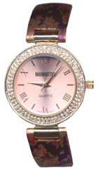 Ladies Quartz Watch with Crystal Bezel and Flower Print Cuff on a Purple Background