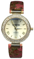 Ladies Quartz Watch with Crystal Bezel and Flower Print Cuff on a Salmon Background