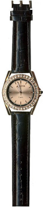 Manhattan by Croton Ladies Quartz Watch with Black Strap