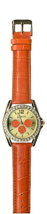 Manhattan by Croton Ladies Quartz Watch with Orange Strap