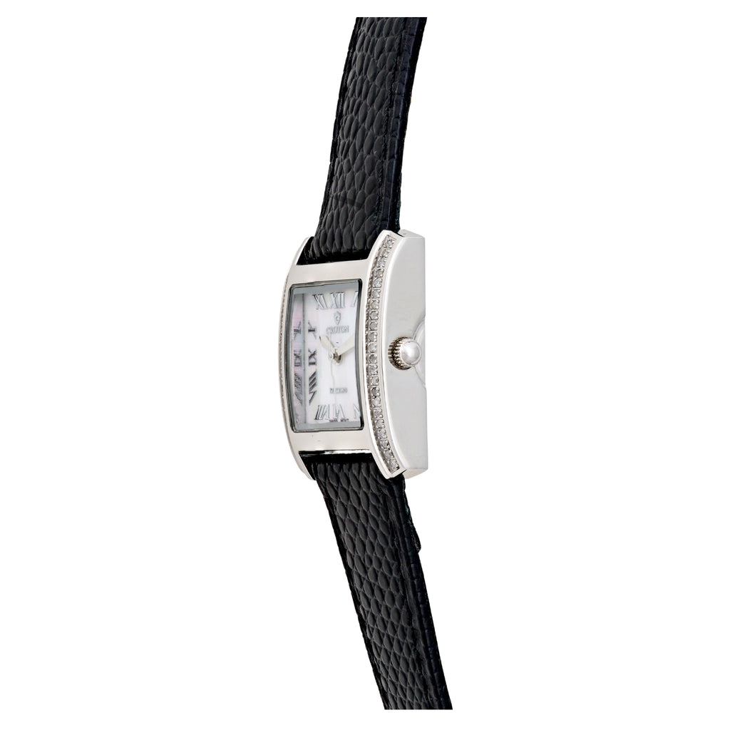 Ladies Swiss Quartz Diamond Case Watch with Mother of Pearl Dial - CROTON GROUP