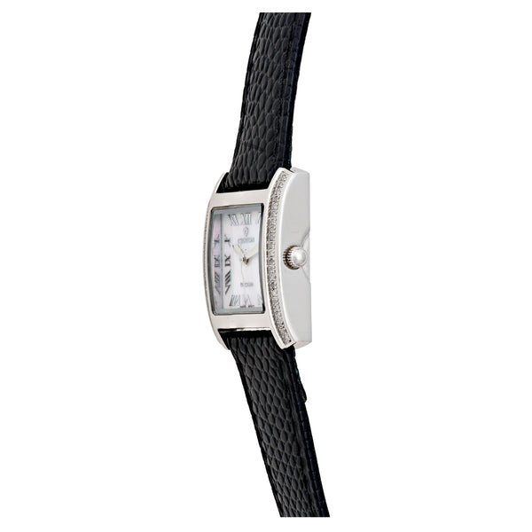 Ladies Swiss Quartz Diamond Case Watch with Mother of Pearl Dial