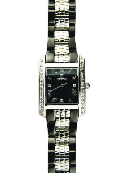 Ladies Swiss Quartz Diamond Case Watch with Silver and Black MOP Dial