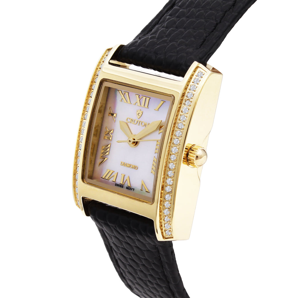 Ladies Swiss Quartz Diamond Case Goldtone Watch with Mother of Pearl Dial - CROTON GROUP