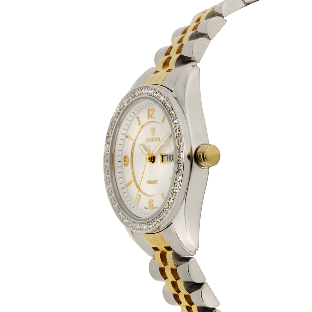 "Croton Ladies ""Pettillant"" Two tone Day/Date Quartz Watch with Austrian Crystal Bezel - CROTON GROUP"