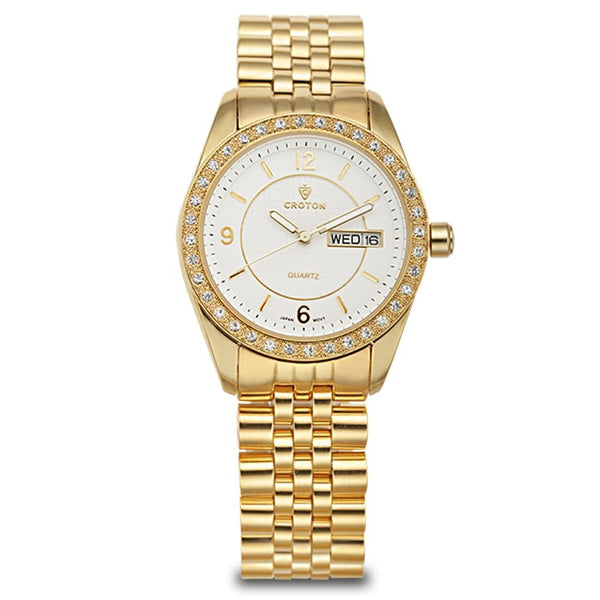 "Croton Ladies ""Pettillant"" Goldtone Day/Date Quartz Watch with Austrian Crystal Bezel"