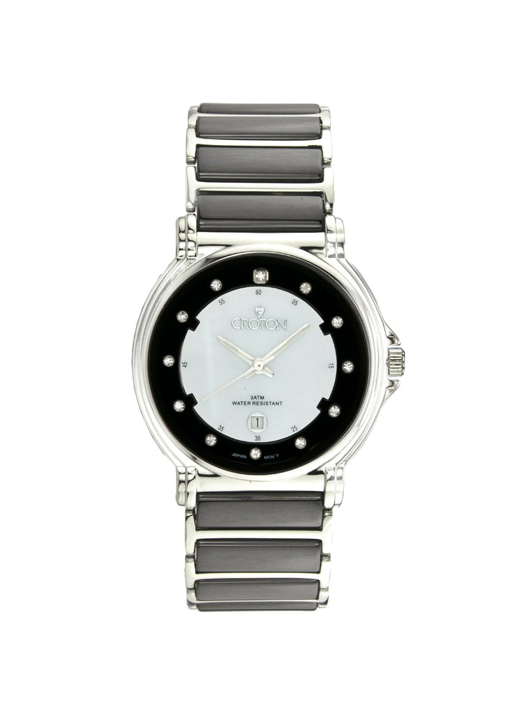 Ladies Japan Quartz Stainless Steel and Ceramic Watch w/ Mother of Pearl Dial