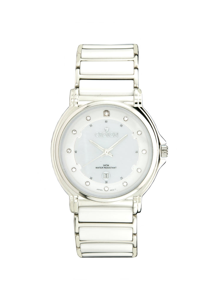 Ladies Japan Quartz Stainless Steel and Ceramic Watch with Mother of Pearl Dial