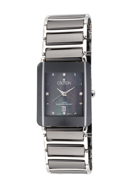 Ladies Black Ceramic & Stainless Steel Quartz Watch with Black Mother of Pearl Dial