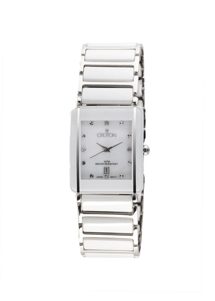 Ladies White Ceramic & Stainless Steel Quartz Watch with Mother of Pearl Dial