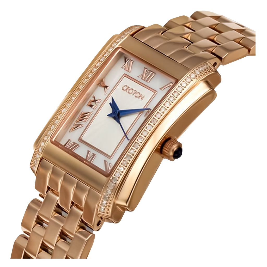 "Croton's Ladies Rosetone Swiss Quartz ""Ballroom"" Watch with Diamond Case & Mother of Pearl Dial"