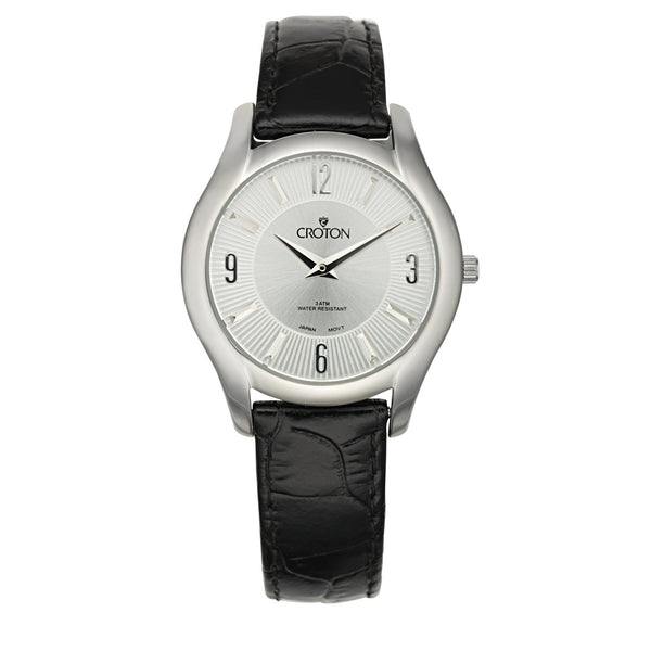 "Croton Stainless Steel Silvertone ""Heritage"" Watch with Silver Dial"
