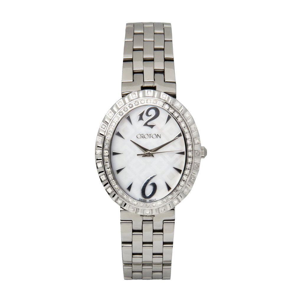"Croton Ladies Silvertone Swiss Quartz ""Ballroom"" Watch with Patterned Mother of Pearl Dial"