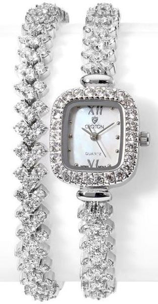 Ladies Japan Quartz Wrap Around CZ Watch with Mother of Pearl Dial