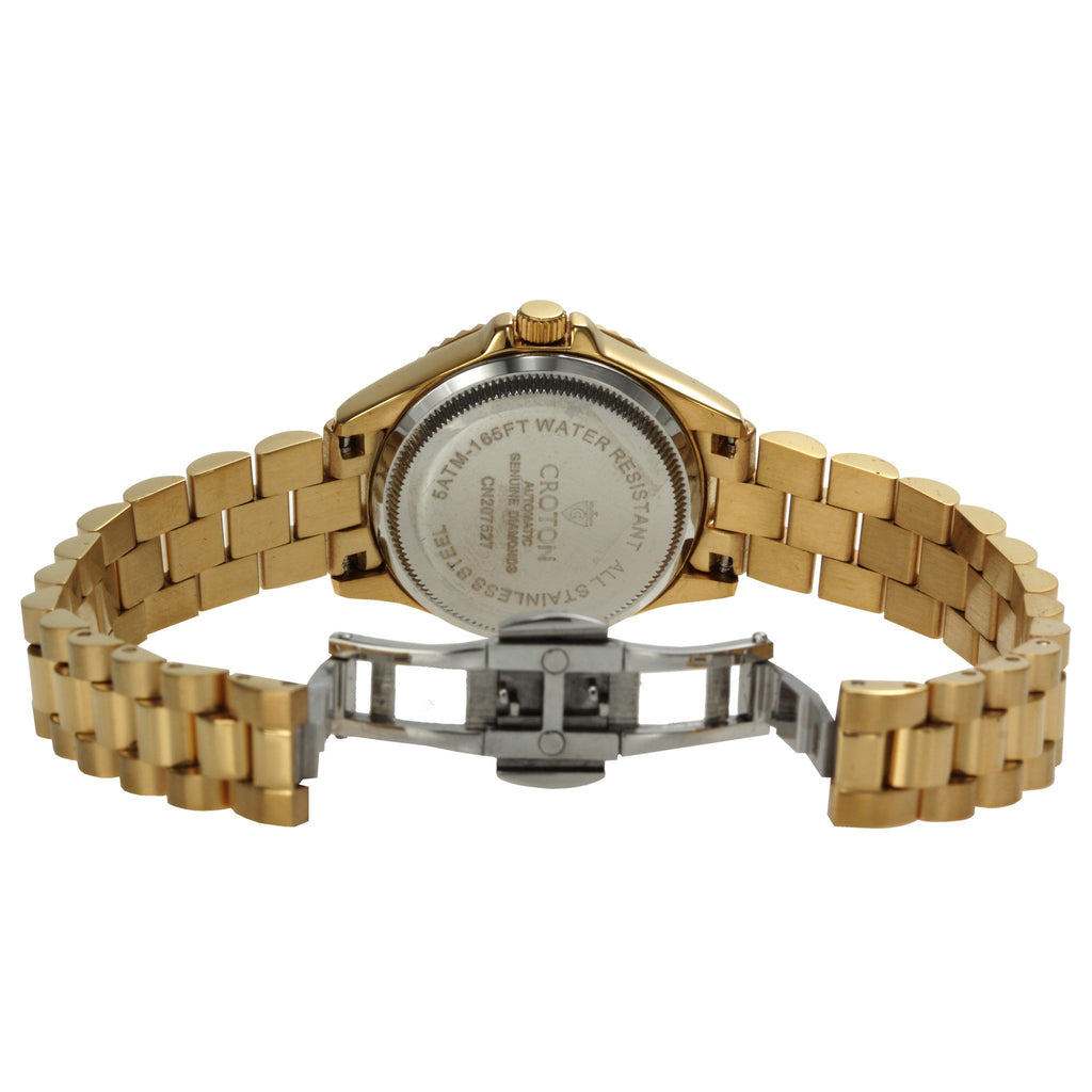 "Croton Ladies ""Heritage"" Goldtone Stainless Automatic Watch with Diamond Markers"